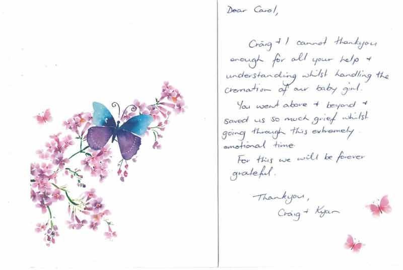 testimonial card signature funeral services