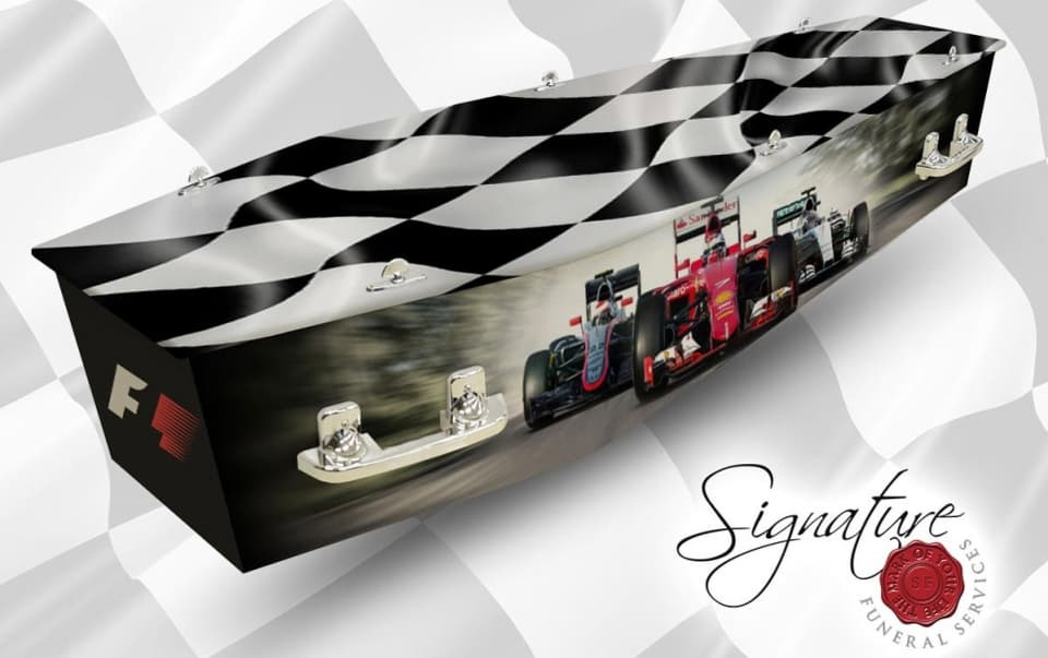 f1 personalised coffin