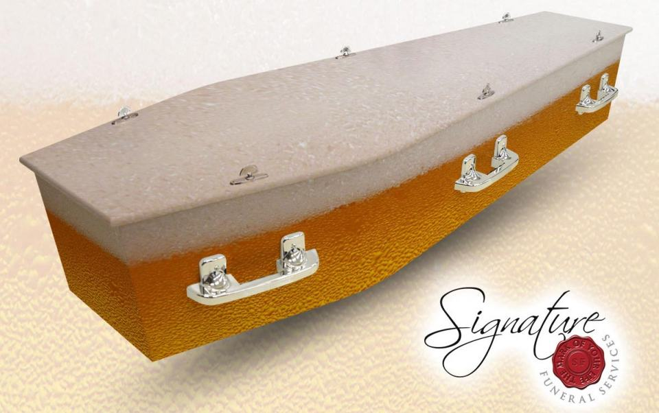 beer personalised coffin signature funeral