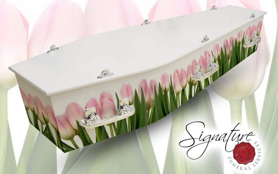tulips personalised coffin