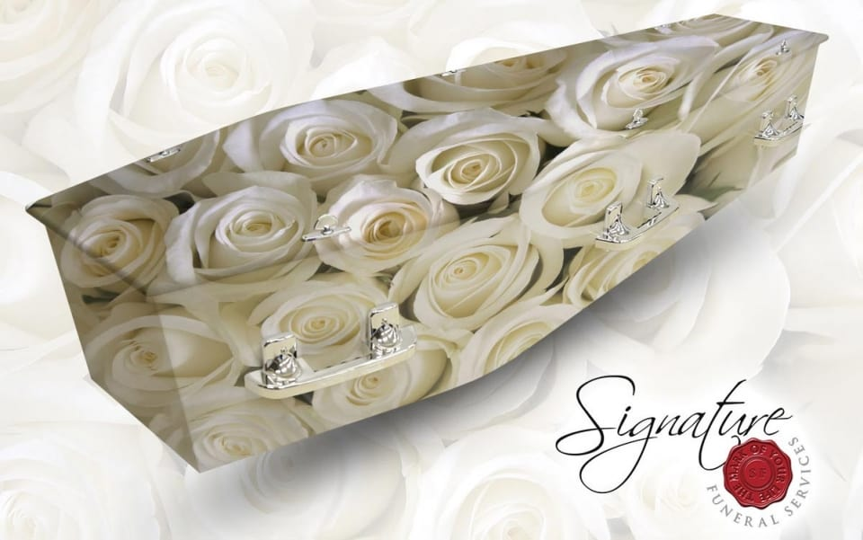 white rose personalised coffin